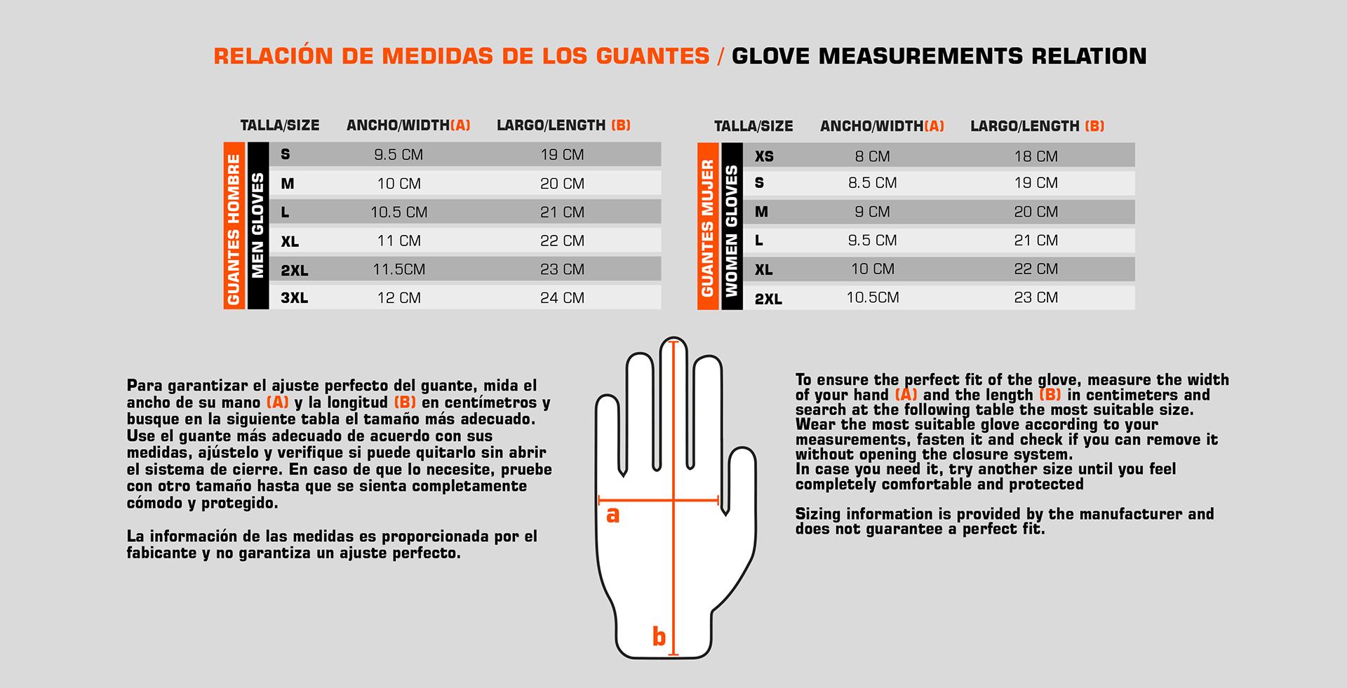Guía de tallas - guantes