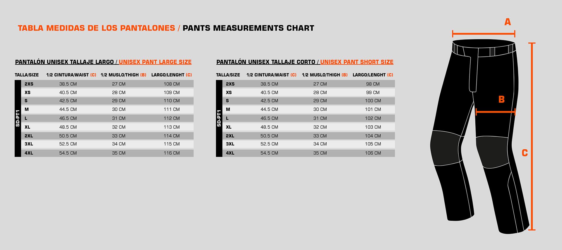 Guía de tallas - pantalones